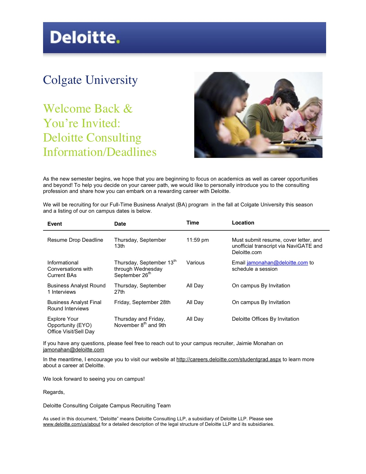deloitte consulting deadline thursday september 13th